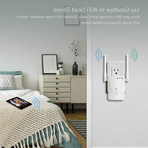 Coredy Wireless Internet Booster Wi-Fi Point with High Antennas, Boosting WiFi