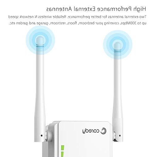 Coredy N300 Range Extender Wireless Internet Booster Wi-Fi with High Antennas, Boosting WiFi