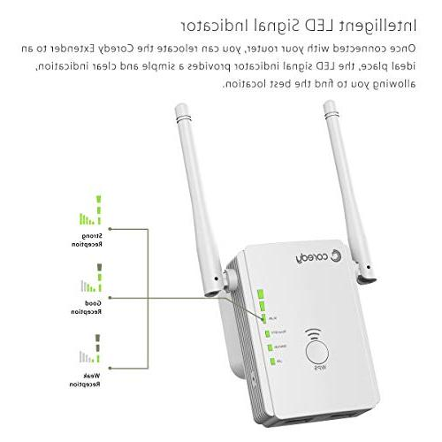 Coredy Mini Range Extender Upgraded Wireless Booster Wi-Fi Point with Ethernet Antennas, Boosting Whole WiFi Coverage