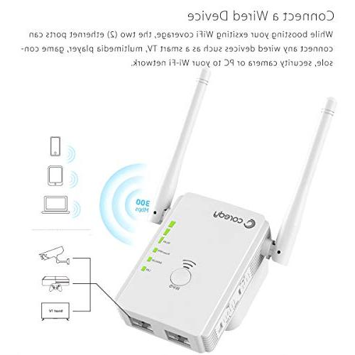 Coredy N300 WiFi Range All-New Wireless Repeater Internet Booster Wi-Fi Access with High Antennas, WiFi